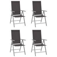 vidaXL 4 db fekete összecsukható textilén kerti szék