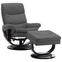 vidaXL antracitszürke műbőr és hajlított fa dönthető fotel