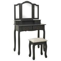 vidaXL szürke császárfa fésülködőasztal-szett ülőkével 80x69x141 cm