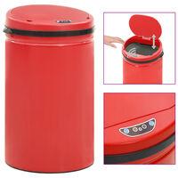 vidaXL piros automata érzékelős szénacél szemeteskuka 40 L