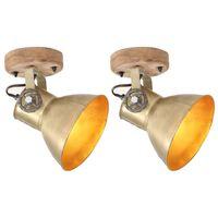 vidaXL 2 db sárgaréz színű ipari fali-/mennyezeti lámpa 20 x 25 cm E27