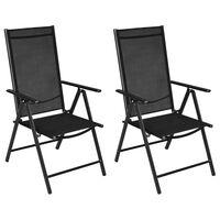 vidaXL 2 db fekete összecsukható alumínium és textilén kerti szék