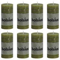 Bolsius 8 db olívazöld rusztikus oszlopgyertya 100 x 50 mm