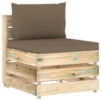 vidaXL zöld impregnált fa elemes középső kanapé párnákkal
