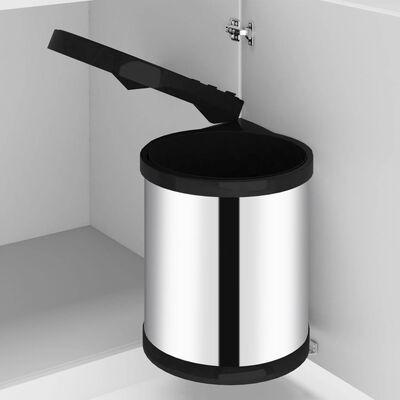 vidaXL acél beépíthető konyhai műanyag szemetes 12 l
