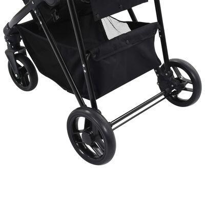 vidaXL szürkésbarna és fekete 2 az 1-ben acél babakocsi/gyermekkocsi, Taupe