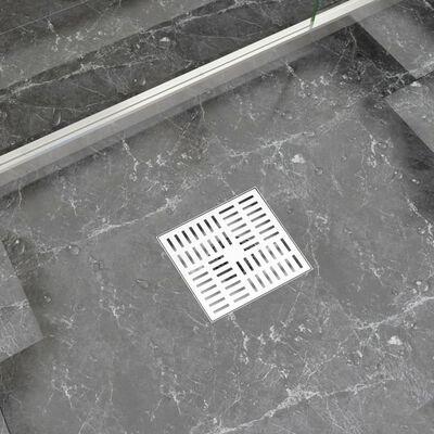 vidaXL rozsdamentes acél zuhanylefolyó ellenőrzőszeleppel 20 x 20 cm