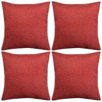 vidaXL 4 db 40x40 cm burgundi vörös vászon jellegű párnahuzat