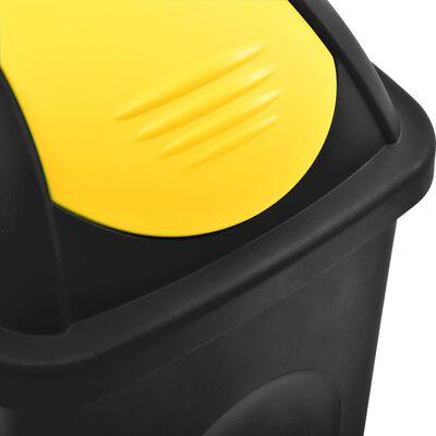 vidaXL fekete és sárga szemeteskuka lengőfedéllel 60 L