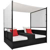 vidaXL fekete polyrattan napellenzős kerti ágy 190 x 130 cm