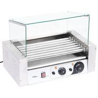 vidaXL 7 hengeres hot dog virslisütő gép üvegfedéllel 1400 W