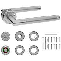 vidaXL rozsdamentes acél ajtókilincs szett WC zárral