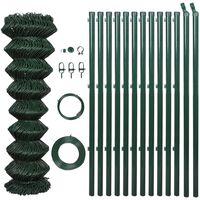 vidaXL zöld acél drótkerítés oszlopokkal 1,5 x 15 m