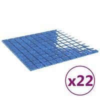 vidaXL 22 db kék öntapadó üveg mozaikcsempe 30 x 30 cm
