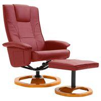 vidaXL bordó műbőr elforgatható TV-fotel lábzsámollyal
