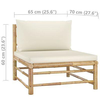 vidaXL 2 részes bambusz kerti ülőgarnitúra krémfehér párnákkal