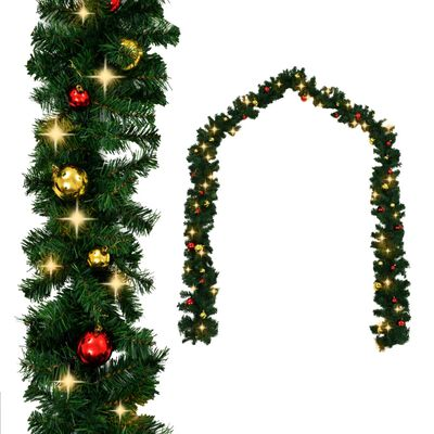 vidaXL karácsonyi füzér díszekkel és LED-fényekkel 5 m