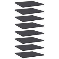 vidaXL 8 db szürke forgácslap könyvespolc 40 x 40 x 1,5 cm