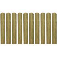 vidaXL 10 db impregnált fa kerítésléc 60 cm