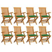 vidaXL 8 db tömör tíkfa kerti szék zöld párnával