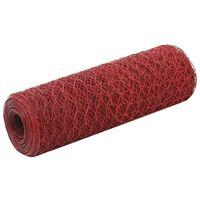 vidaXL piros PVC-bevonatú acél csirkeháló drótkerítés 25 x 0,5 m