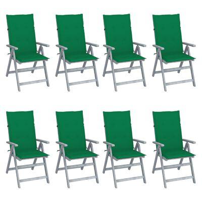 vidaXL 8 db szürke tömör akácfa kerti dönthető szék párnával