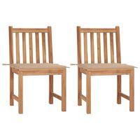 vidaXL 2 db tömör tíkfa kerti szék párnával