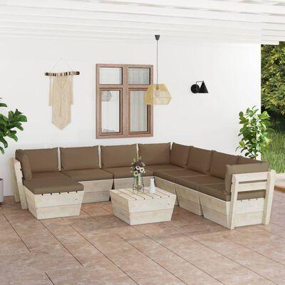 vidaXL 9 részes lucfenyő kerti raklap-bútorgarnitúra párnákkal