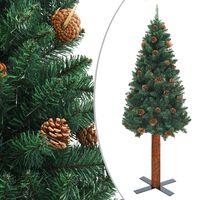 vidaXL zöld vékony PVC karácsonyfa valódi fával és tobozokkal 210 cm