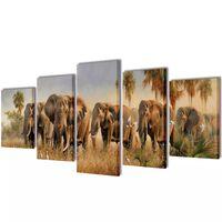 Nyomtatott vászon falikép szett elefántok 100 x 50 cm