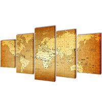 Nyomtatott vászon falikép szett Világtérkép 100 x 50 cm