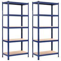 vidaXL 2 db kék acél és MDF tárolópolc 80 x 40 x 180 cm