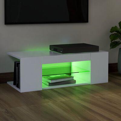 vidaXL fehér TV-szekrény LED-lámpákkal 90 x 39 x 30 cm