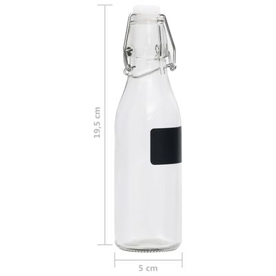 vidaXL 6 db köralakú 250 ml-es üvegpalack záró csattal