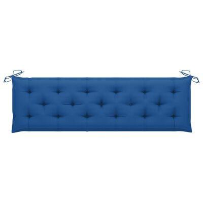 vidaXL tömör tíkfa kerti pad kék párnával 175 cm