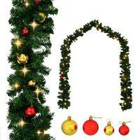 vidaXL karácsonyi füzér díszekkel és LED-fényekkel 10 m