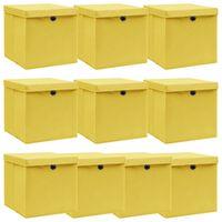 vidaXL 10 db sárga szövet tárolódoboz fedéllel 32 x 32 x 32 cm