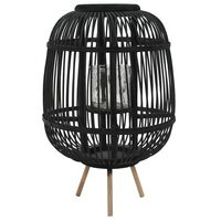 vidaXL fekete bambusz gyertyatartó állvány