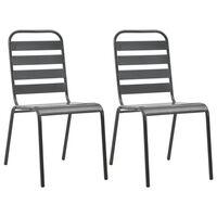 vidaXL 2 db szürke rakásolható acél kültéri szék
