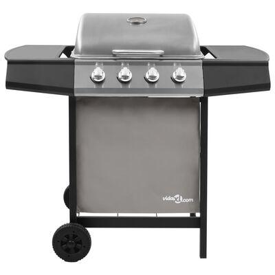 vidaXL fekete és ezüst gáz grillsütő 4 égővel