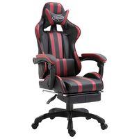 vidaXL bordó műbőr gamer szék lábtartóval
