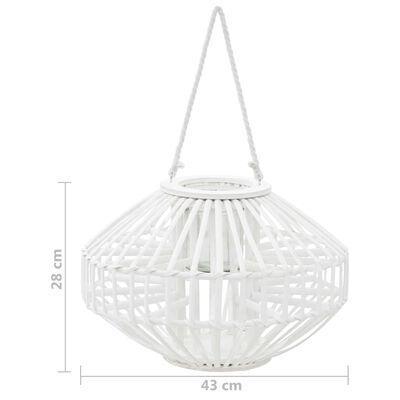vidaXL fehér fonott vessző függő gyertyatartó lámpás