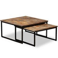 vidaXL 2 db egymásba tolható tömör újrahasznosított tíkfa asztal