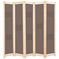 vidaXL barna 5-paneles szövetparaván 200 x 170 x 4 cm