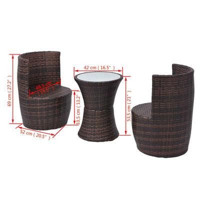 vidaXL 3 darabos barna polyrattan bisztrószett párnákkal