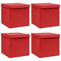 vidaXL 4 db piros szövet tárolódoboz fedéllel 32 x 32 x 32 cm