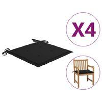 vidaXL 4 db fekete párna kerti székhez 50 x 50 x 4 cm
