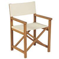 vidaXL krémfehér összecsukható tömör tíkfa rendezői szék