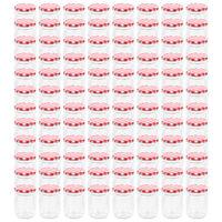 vidaXL 96 db 230 ml-es befőttesüveg piros-fehér tetővel