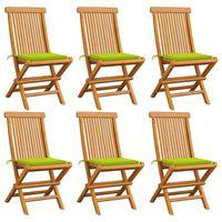 vidaXL 6 db tömör tíkfa kerti szék élénkzöld párnával
